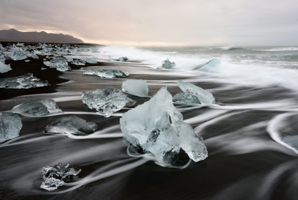 Icebergs and Ice on Black Beach